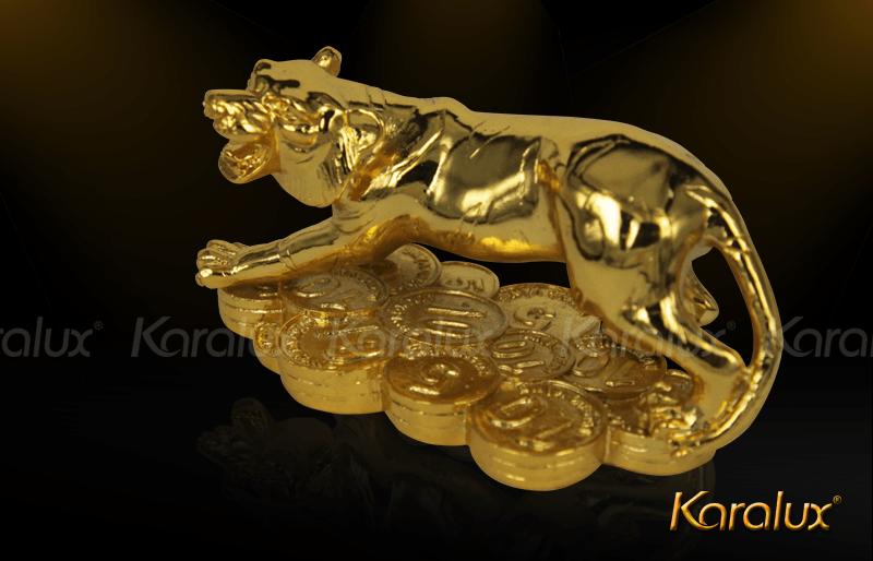 Tượng Hổ phong thủy mạ vàng 24K |HO PHONG THUY tài lộc ma vang của Karalux