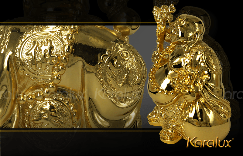 Tượng phật Di Lặc đứng bằng đồng mạ vàng | Quà tặng cao cấp Ma Vang Karalux