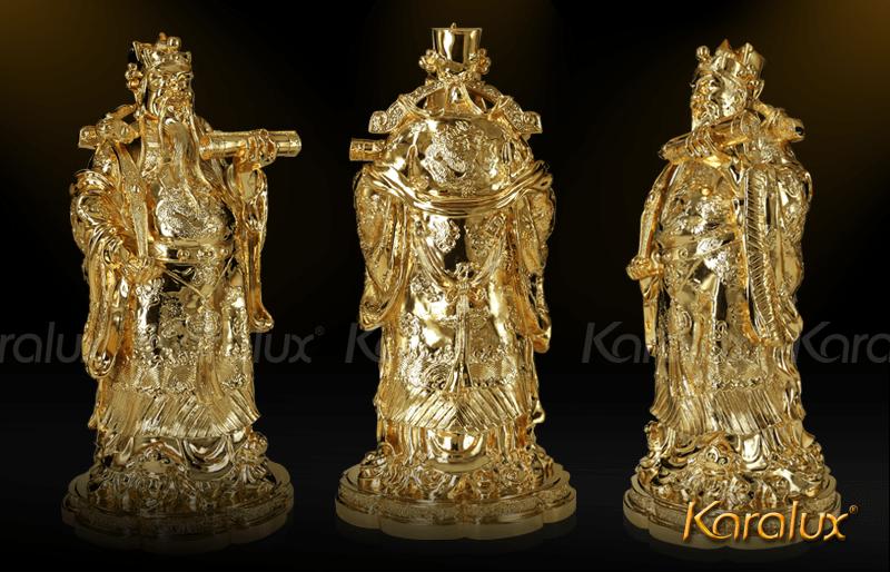 TUONG TAM DA MA VANG 2014| Tượng tam đa (Phúc- Lộc- Thọ)mạ vàng 24k