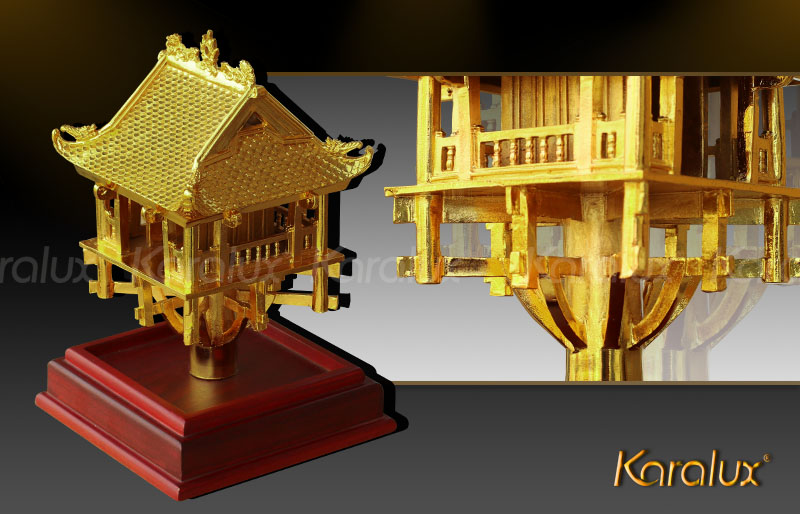 The delicate 24K gold-plated One Pillar Pagoda Model