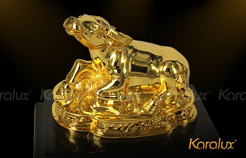Linh vật trâu phong thủy | Biểu tượng trâu bằng đồng mạ vàng 24k làm quà tặng