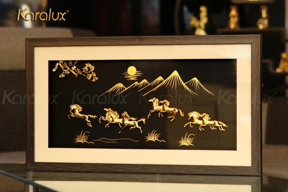 tranh mạ vàng, tranh phong thủy, tranh ngựa mạ vàng 24k
