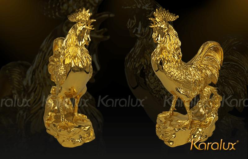 Gà Trống PHONG THỦY mạ vàng 24K | Linh vật GA PHONG THUY đúc đồng dát vàng 9999