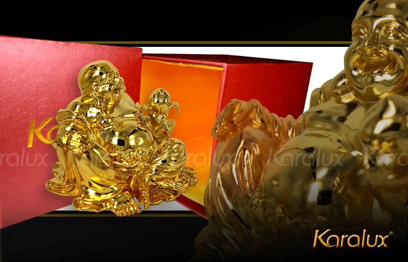 Tượng phật Di Lặc dáng ngồi bằng đồng mạ vàng 24k   Quà tặng cao cấp Karalux