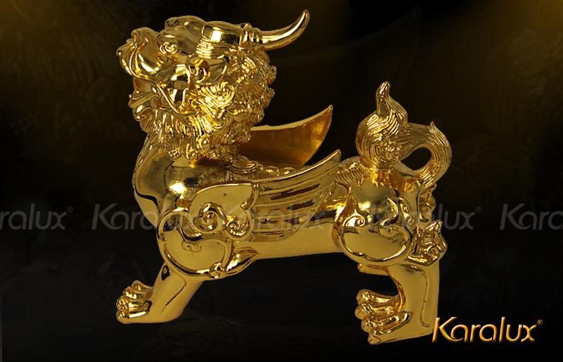 Tỳ hưu, tỳ ngưu mạ vàng 24k |Quà tặng phong thủy cao cấp Karalux