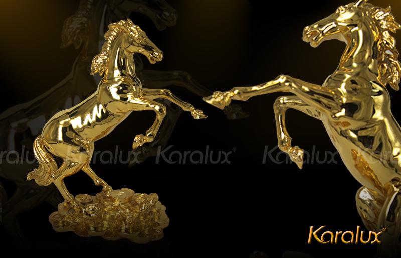 Tượng ngựa phong thủy mạ vàng, dát vàng 24K | Quà tặng tết Giáp Ngọ độc đáo