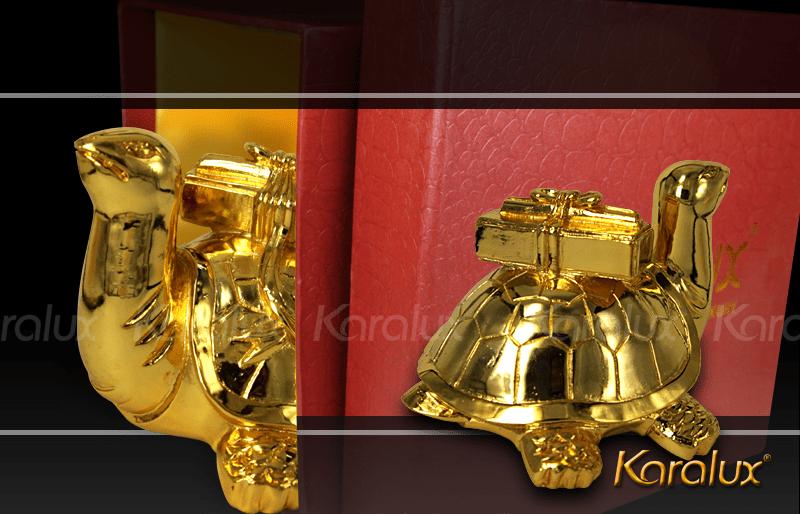 Linh vật Rùa phong thủy   Linh quy đúc đồng mạ vàng 24k