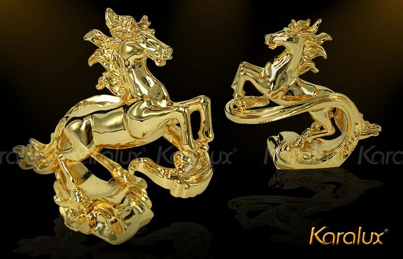 Tượng ngựa mây phong thủy mạ vàng cao cấp|Tuong ngua ma vang 24K