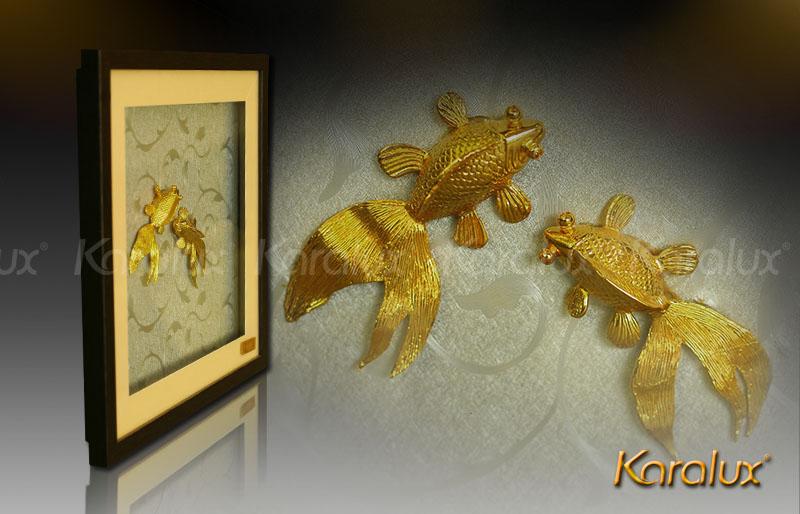 Tranh đôi cá mạ vàng