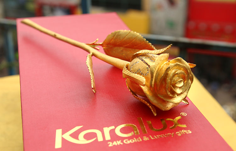 The gold-plated rose is 22 cm long