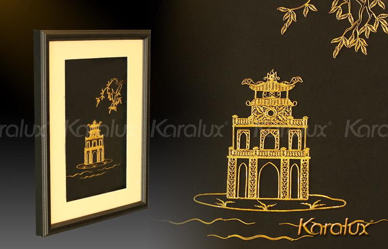 Tranh treo tường Biểu tượng thủ đô Hà Nội Tháp Rùa mạ vàng 24K