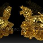 Linh vật Long Quy đúc đồng mạ vàng 3