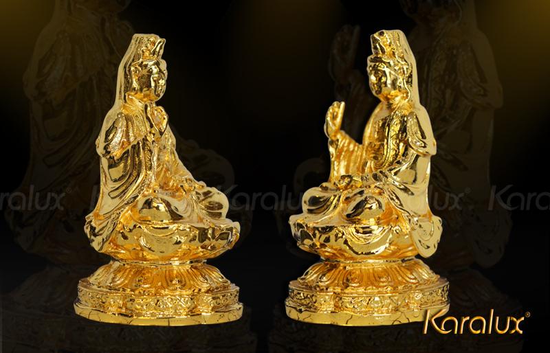 Tượng Đức Bà Quan Thế Âm được đúc đồng vàng chi tiết, khéo léo