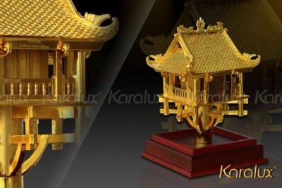 Tranh chùa Một Cột phong cảnh mạ vàng 10