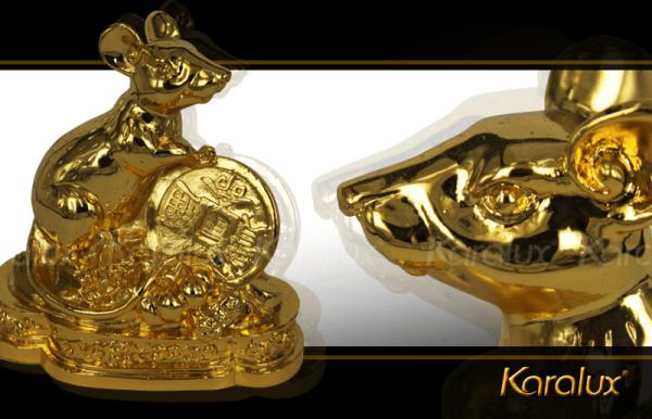 Chuột phong thủy may mắn mạ vàng 2