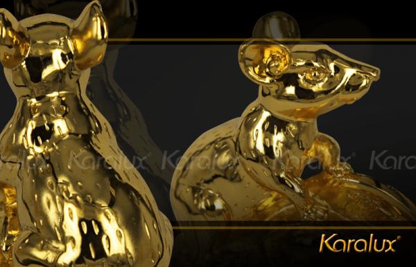 Chuột phong thủy may mắn mạ vàng 1
