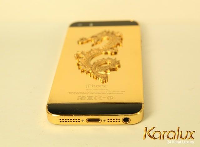 iPhone 5S mạ vàng 24k khảm rồng tinh tế
