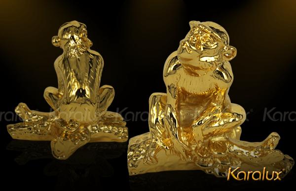 Tượng Khỉ phú quý mạ vàng - TLV-12CG9-2 1