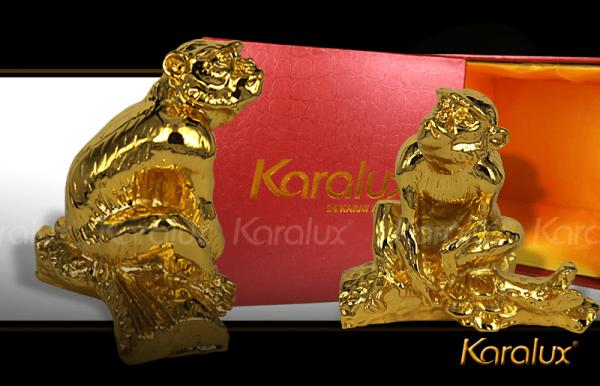 Tượng khỉ phong thủy đúc đồng mạ vàng 24k | Tuong Phong Thuy Tuoi Than Ma Vang