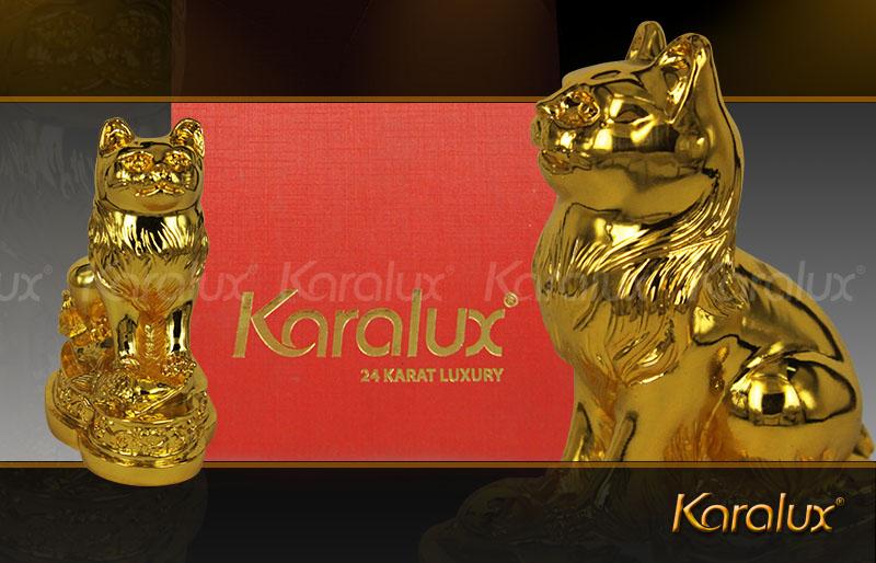 Tượng mèo phong thủy mạ vàng may mắn – TLV-12CG4-1