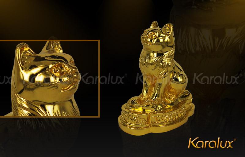 Tượng mèo phong thủy mạ vàng may mắn 6