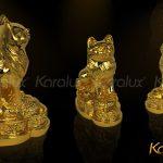 Tượng mèo phong thủy mạ vàng may mắn 3