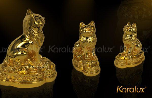 Tượng mèo phong thủy mạ vàng may mắn 1