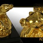 Linh vật Trâu phong thủy tài lộc mạ vàng 4