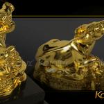 Linh vật Trâu phong thủy tài lộc mạ vàng 6