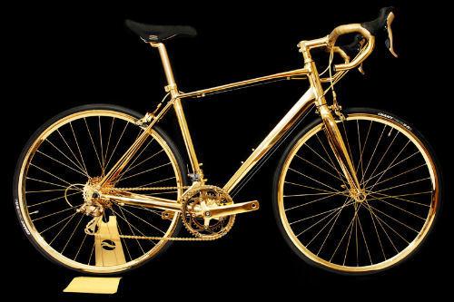 Xe đạp mạ vàng 24k độc đáo