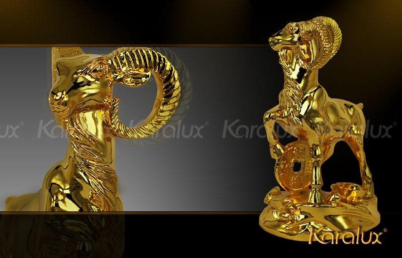 Linh vật Dê phong thủy mạ vàng