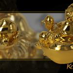 Tượng phật Di Lặc mạ vàng ( Di lặc đào ) 4