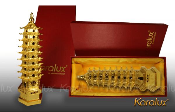 Tháp Văn Xương đúc đồng mạ vàng - MHK-0011-C18 3