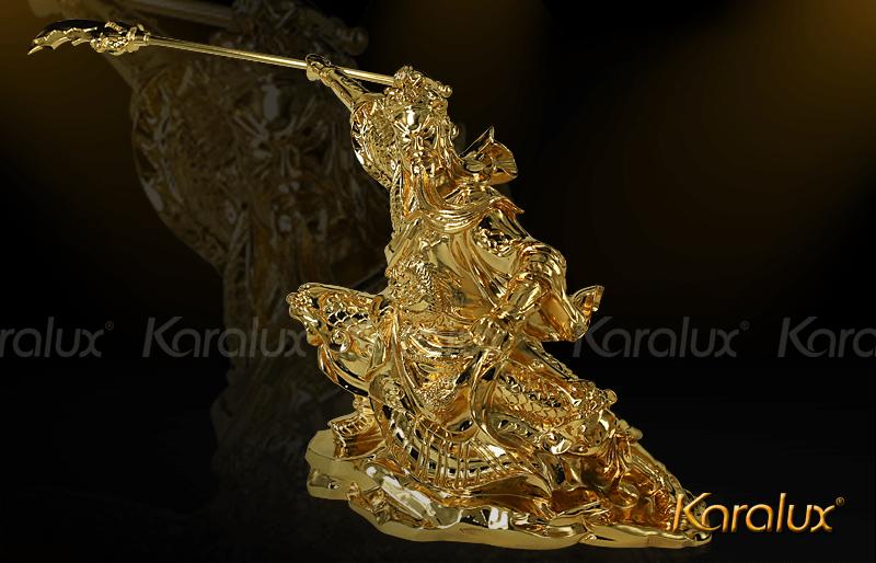 Tượng Quan Công mạ vàng cầu tài hóa sát 10