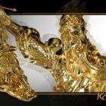 Tượng Quan Công mạ vàng cầu tài hóa sát 6
