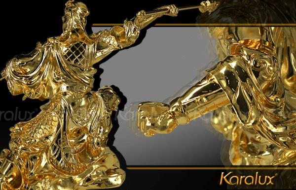 Tượng Quan Công mạ vàng cầu tài hóa sát 1