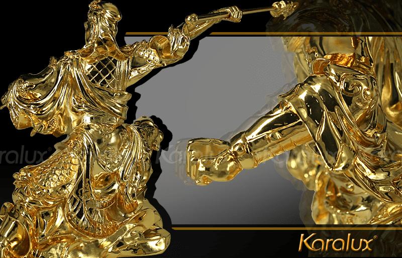 Tượng Quan Công mạ vàng cầu tài hóa sát 15