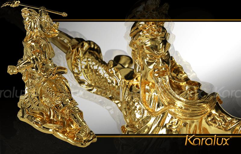 Tượng Quan Công mạ vàng cầu tài hóa sát 13