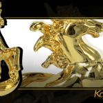 Tượng ngựa vờn mây phong thủy mạ vàng 2