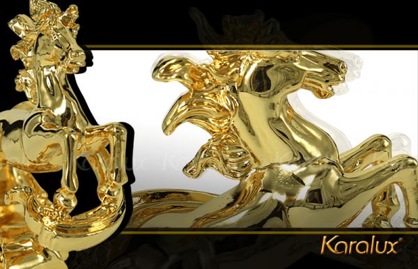 Tượng ngựa vờn mây phong thủy mạ vàng 1
