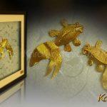 Tranh đôi cá mạ vàng 3