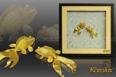 Tranh đôi cá mạ vàng 24k