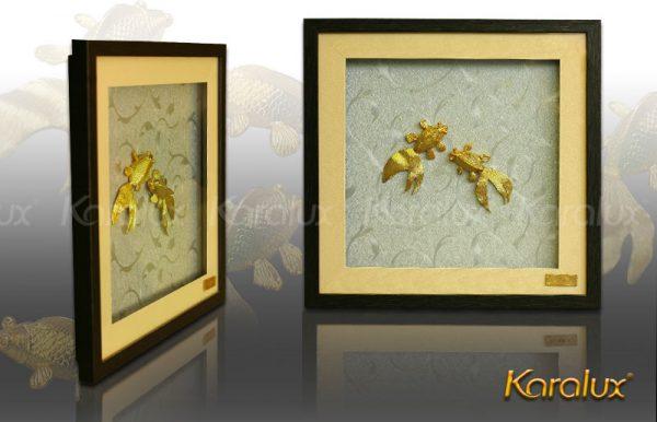 Tranh đôi cá mạ vàng 2