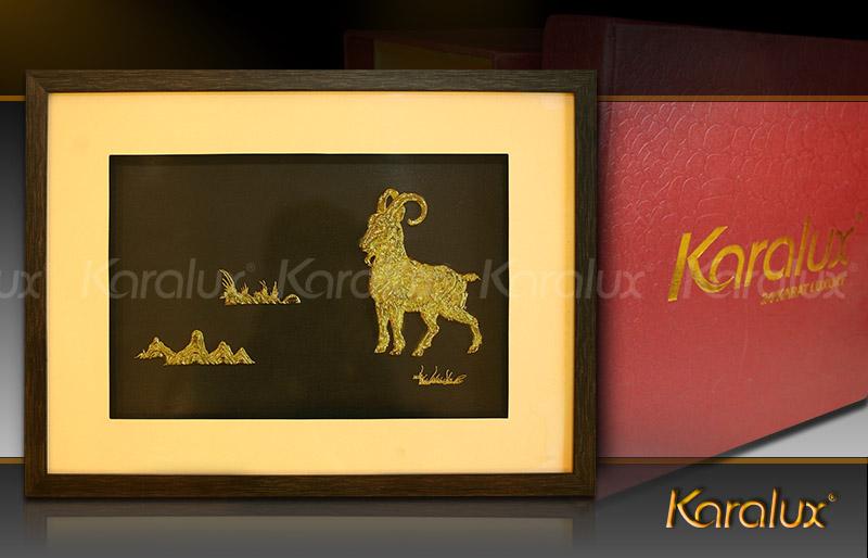 Bức tranh Dê phú quý mạ vàng – TRD-0003-3545