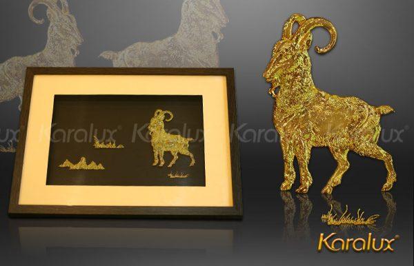 Quà tặng phong thủy theo tuổi, tranh Dê phú quý mạ vàng Karalux