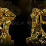 Tượng Dê thịnh vượng mạ vàng - TLV-MUI2-C15 4