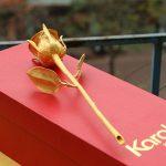 Bông hồng đúc vàng 24K đính kim cương 12