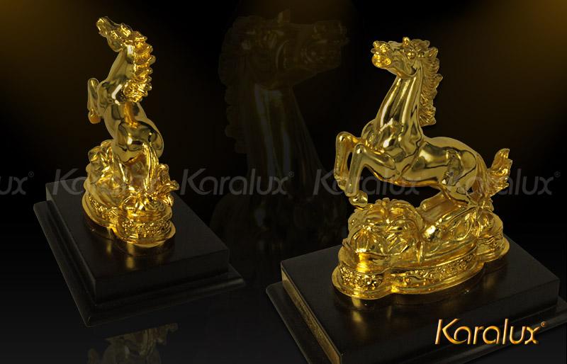 Tượng ngựa mạ vàng (loại nhỏ) - TLV-12CG7-1 5