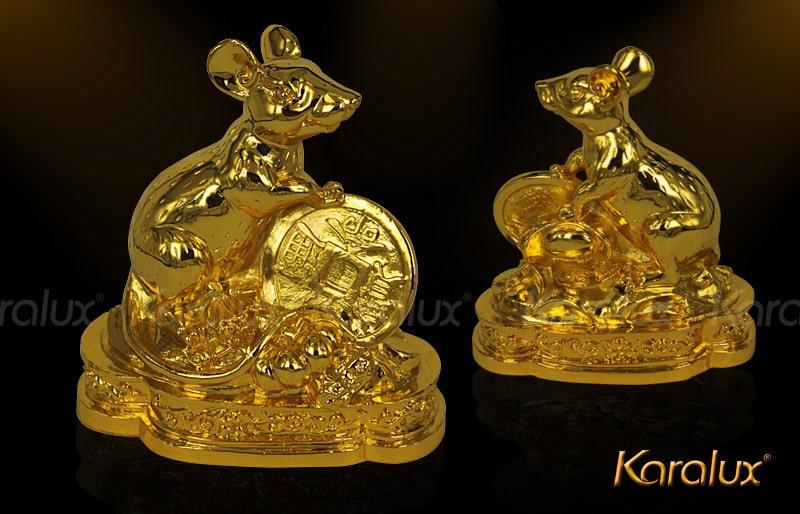 Tượng chuột phong thủy mạ vàng