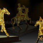 Tượng khỉ cưỡi ngựa mạ vàng (mẫu 1) 3